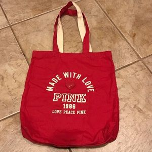 Vintage Victorias Secret Pink Canvas Tote Bag